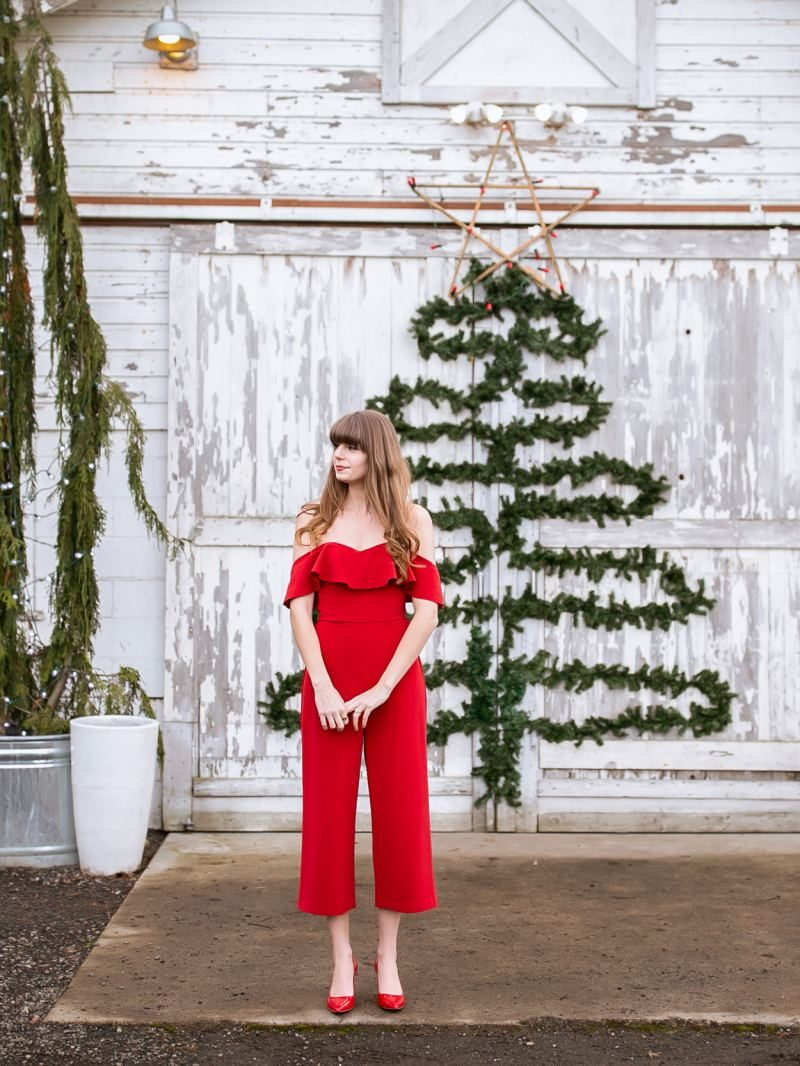 red Christmas jumpsuit