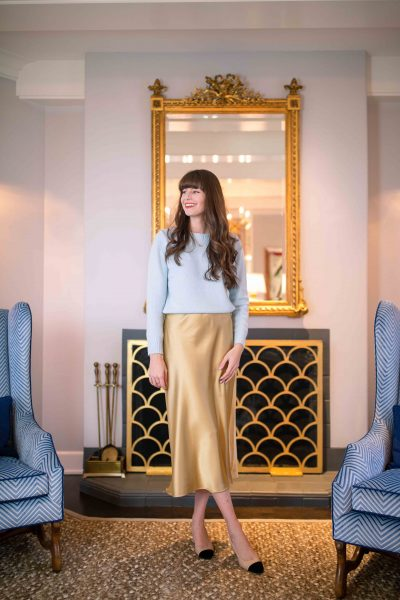 Blue Christmas Outfit Series: A Touch of Gold (Satin Skirt)